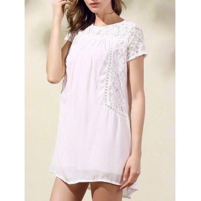 Fashion Round Collar Short Sleeve Lace Spliced Dress For Women