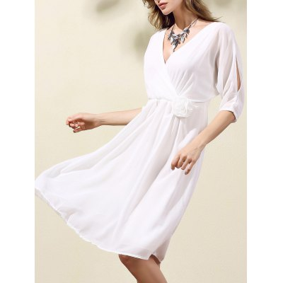 Trendy V-Neck Half Sleeve Cut Out Waisted Dress For Women