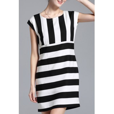 Striped Cap Sleeve Mini Dress