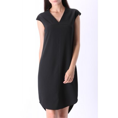 Pure Color Cap Sleeve Dress