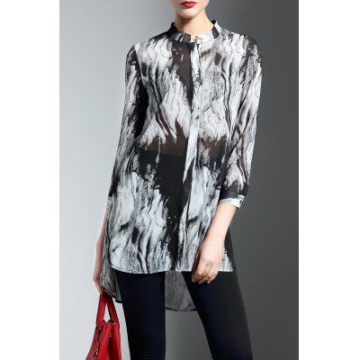 Buttoned High Low Print Blouse