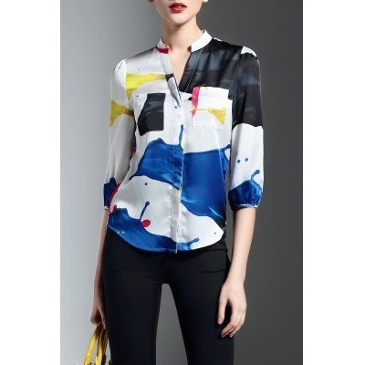Pocket Design Hit Color Print Blouse