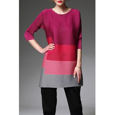 Color Block Creased Tunic Top