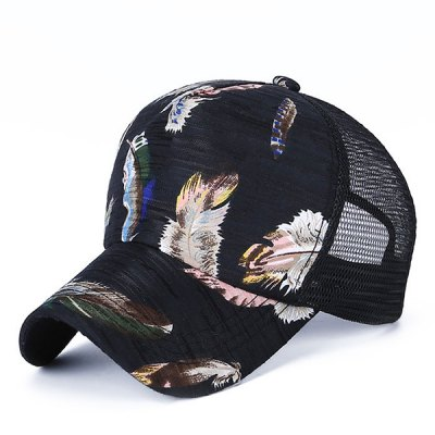 Handpainted Feathers Pattern Outdoor Casual Mesh Baseball Cap