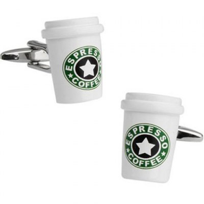 Coffee Paper Cup Shape Alloy Cufflinks For Men