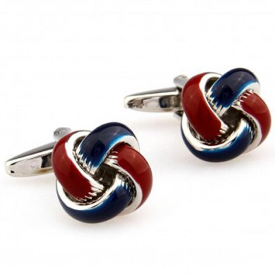 Pair of Stylish Two Color Match Hemp Flowers Shape Alloy Cufflinks For Men