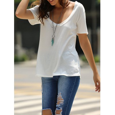 Low-Cut U Neck Solid Color Short Sleeve T-Shirt For Women
