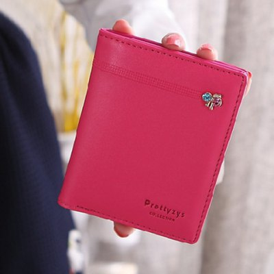 Sweet Solid Color and Snap Button Design Clutch Wallet For Women