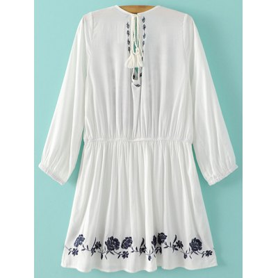 Stylish Plunging Neck Flare Sleeve Embroidery Women's Dress