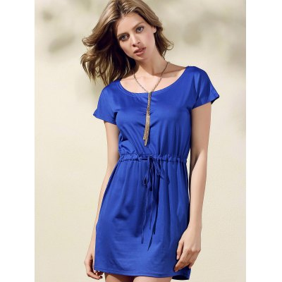 Stylish Scoop Neck Short Sleeve Drawstring Dress For Women от GearBest.com INT
