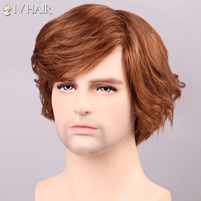 Siv Hair Curly Inclined Bang Human Hair Men's Wig