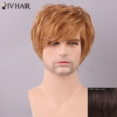 Siv Hair Men's Fluffy Straight Side Bang Human Hair Wig
