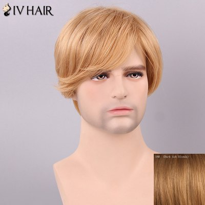 Men's Siv Hair Side Bang Human Hair Wig