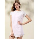 Fashion Round Collar Short Sleeve Lace Spliced Dress For Women deal