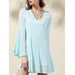 Trendy V-Neck Flare Sleeve Solid Color Dress For Women