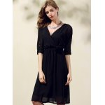 Trendy V-Neck Half Sleeve Cut Out Waisted Dress For Women deal