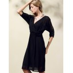 Trendy V-Neck Half Sleeve Cut Out Waisted Dress For Women for sale