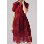 Belted Lace Spliced Dress