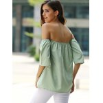 Stylish Off-The-Shoulder Half Sleeves Solid Color Blouse For Women photo