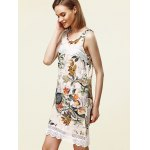 Sweet Sleeveless Lace Embellished Floral Women's Dress for sale