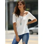 best Fashionable Low-Cut U Neck Solid Color Short Sleeve T-Shirt For Women