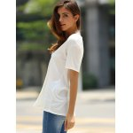Fashionable Low-Cut U Neck Solid Color Short Sleeve T-Shirt For Women photo