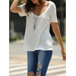Fashionable Low-Cut U Neck Solid Color Short Sleeve T-Shirt For Women