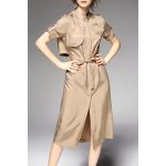 Stand Collar Lace-Up Solid Color Trench Coat
