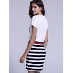 Casual Jewel Neck Striped Drawstring Short Sleeves Dress For Women for sale