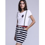 cheap Casual Jewel Neck Striped Drawstring Short Sleeves Dress For Women