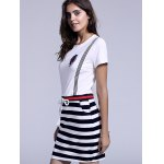 Casual Jewel Neck Striped Drawstring Short Sleeves Dress For Women deal