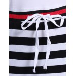 best Casual Jewel Neck Striped Drawstring Short Sleeves Dress For Women