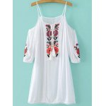 Fashion Cami Cold Shoulder Floral Embroidery Dress For Women