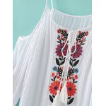 Fashion Cami Cold Shoulder Floral Embroidery Dress For Women deal