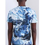 Abstract 3D Iceberg Print Round Neck Short Sleeves T-Shirt For Men deal