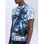cheap Abstract 3D Iceberg Print Round Neck Short Sleeves T-Shirt For Men