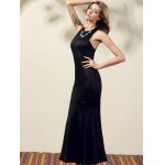 Stylish Round Neck Back Cut Out Solid Color Maxi Dress For Women deal