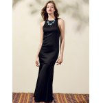 cheap Stylish Round Neck Back Cut Out Solid Color Maxi Dress For Women