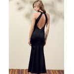 Stylish Round Neck Back Cut Out Solid Color Maxi Dress For Women for sale
