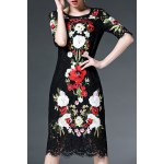 Half Sleeve Floral Embroidery Lace Dress