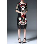 best Half Sleeve Floral Embroidery Lace Dress