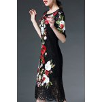 Half Sleeve Floral Embroidery Lace Dress deal