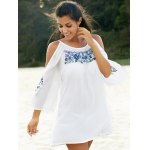 Fashion Round Collar Cold Shoulder Embroidery Dress For Women photo