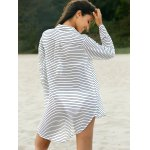 Stylish Shirt Collar Long Sleeve Striped Loose Women's Dress for sale