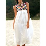 Ethnic Style Round Neck Sleeveless Embroidery Dress For Women