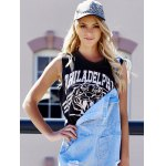 cheap Plus Size Scoop Neck Tiger and Letter Print Cotton Women's Crop Top Tank Top