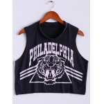 Plus Size Scoop Neck Tiger and Letter Print Cotton Women's Crop Top Tank Top for sale