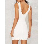 Slimming Scalloped White Mini Dress For Women deal