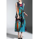 Sleeveless Colorful Print Pleated Dress for sale