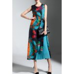 Sleeveless Colorful Print Pleated Dress deal